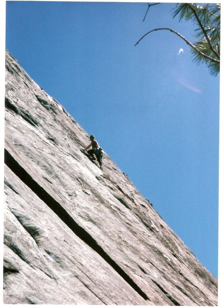 Eddie Begoon during the first ascent at Laurel Knob.