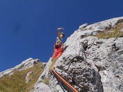 Rock Climbing Photo: Kat on summit pitch!