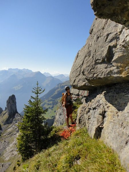 At one of the big grassy belay ledges