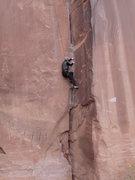 Rock Climbing Photo: Lisa Gillest working the thin finger lieback