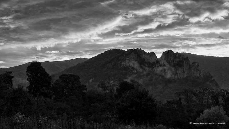 Seneca Rocks from the meadow at Seneca Shadows on a stormy September morning