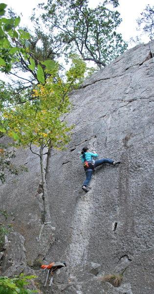 Rock Climbing Photo: Tammy following Warlock.