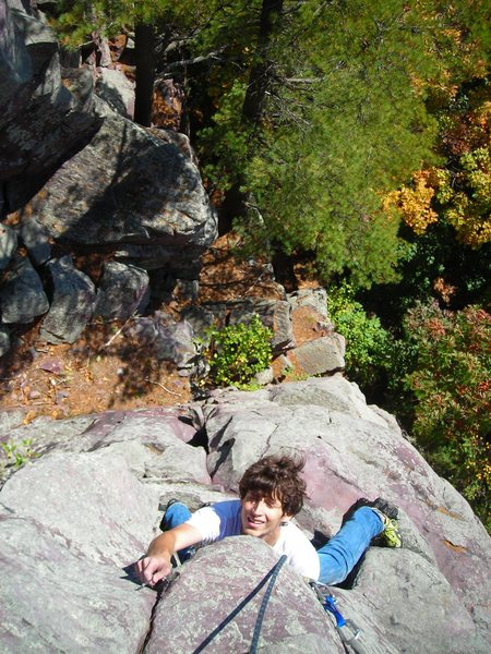 """Looking down upon Dylan Colon as he seconds """"Mindless Dribble"""" (or the crack line over to the right of the guide book description of MD)."""