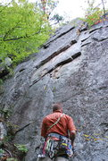 Rock Climbing Photo: Summer Breeze.  Climb to first overlap, traverse t...