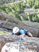Rock Climbing Photo: Laurie on pitch 4 crack.