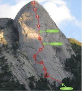 Rock Climbing Photo: A rough route map of our North Face ascent. The ci...