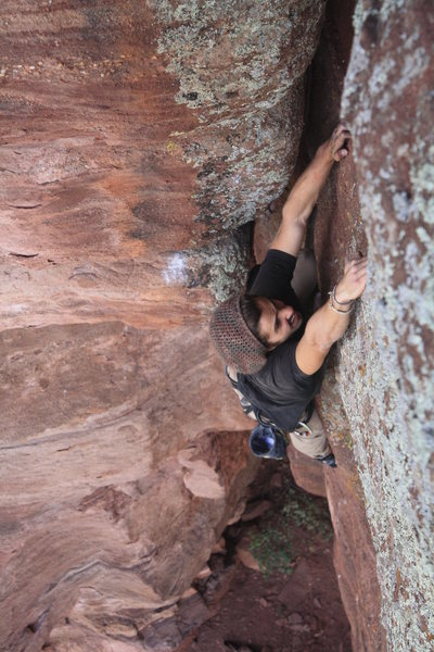 Rock Climbing Photo: Austin riding the worm