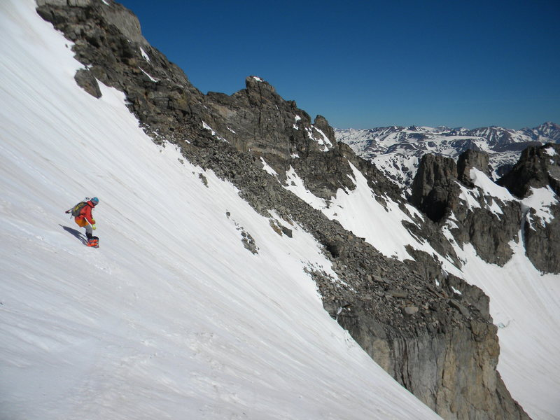 "Skiing down. Awesome ski descent! Or split board. Aaron ""Doc"" Miller in photo."