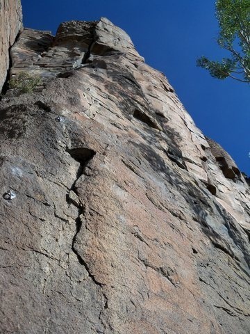 Rock Climbing Photo: Up six bolts and left toward the anchor passing th...
