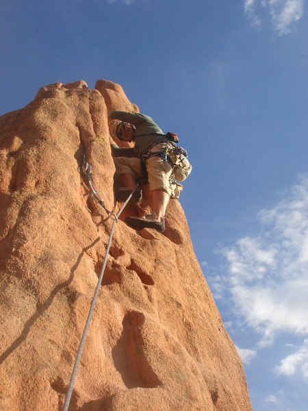 Rock Climbing Photo: Jason leading the second pitch of North Ridge.
