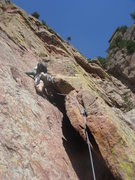 Rock Climbing Photo: Jason leading the P2 flake.