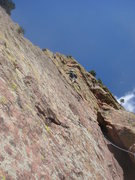 Rock Climbing Photo: Jason leading the lower traverse (5.6) variation t...