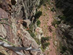 Rock Climbing Photo: Keo finishing up P2.