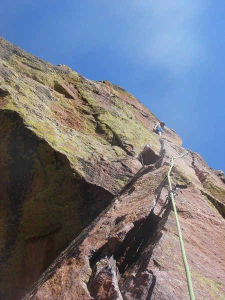 Rock Climbing Photo: Keo Bolton leading the original P5.