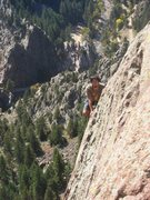 Rock Climbing Photo: On the spectacular P6 arete.