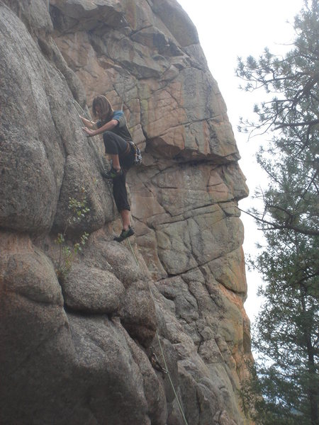 Rock Climbing Photo: Carl Brockhoff on the tricky mid-section.