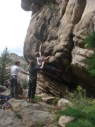 Rock Climbing Photo: CJ working the crux start.