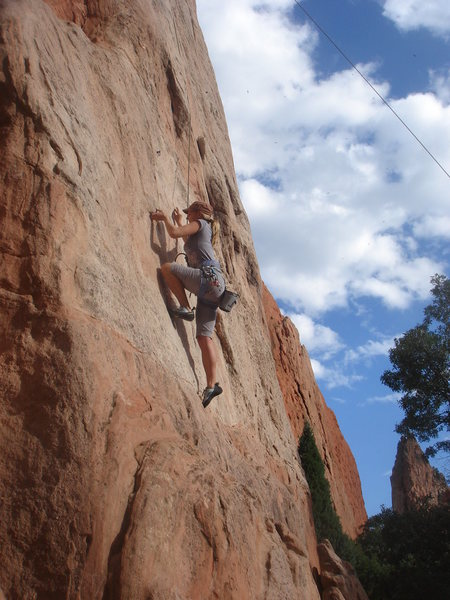 Rock Climbing Photo: Eva taking on the crux.