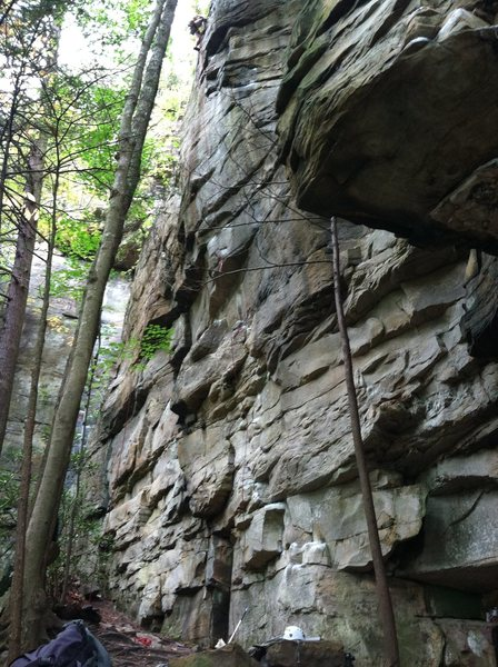 Lost Souls smack dab in middle of photo with obvious chalk. My buddy cleaning the route at top