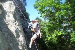 Rock Climbing Photo: Tommy on his First descent off Armpits