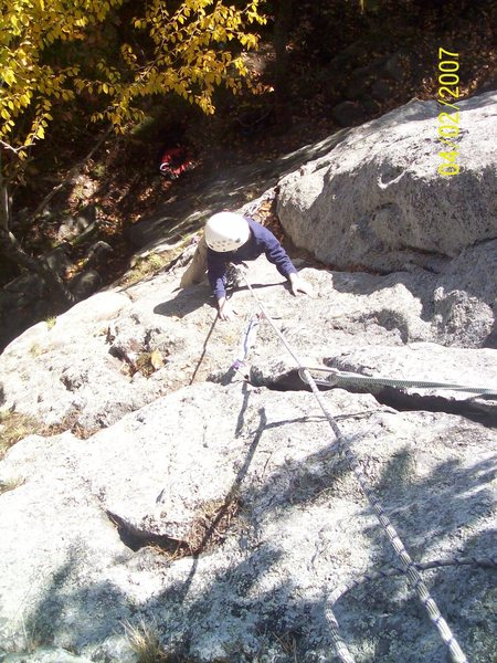 """Two pitch lead of """"The Devil"""" (5.9+) on the midwall."""