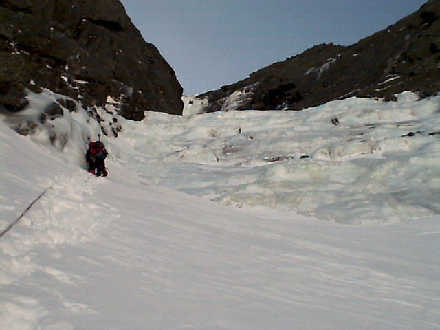 2 pitchs below the Crux ice mushroom