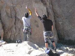 Rock Climbing Photo: Scott and Lluis discuss the finer details.