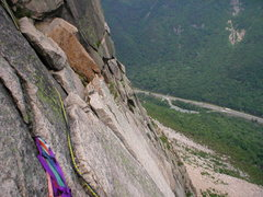 Rock Climbing Photo: Belay above the Triangular roof, looking down with...