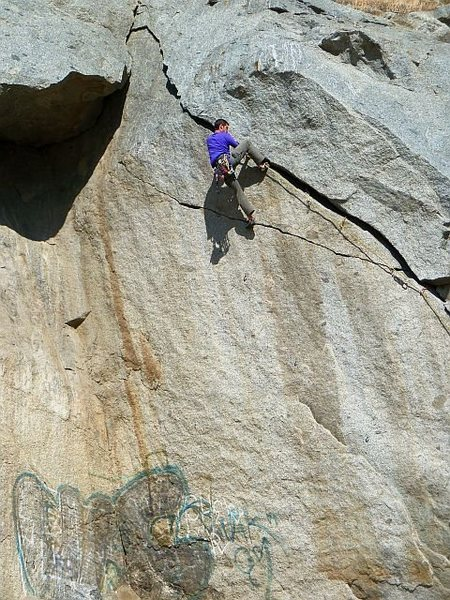 Rock Climbing Photo: Ryan near the top of Agony Arch (5.11b), Riverside...