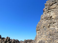 Rock Climbing Photo: Jason high above it all on Custom Tailored (5.7), ...