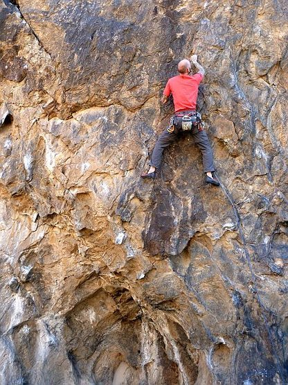 Jason low on the Backside Arete (5.11d), NJC
