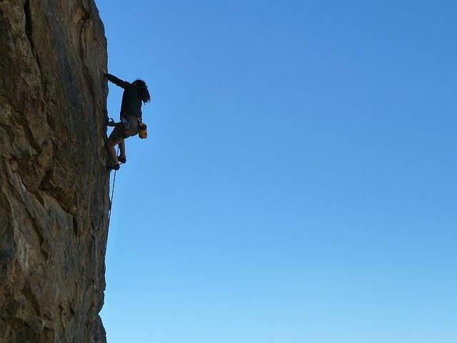 Rock Climbing Photo: Joel airing it out on the Backside Arete (5.11d), ...
