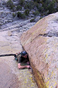 Rock Climbing Photo: Sundance climber is fishing in the final RP on Way...