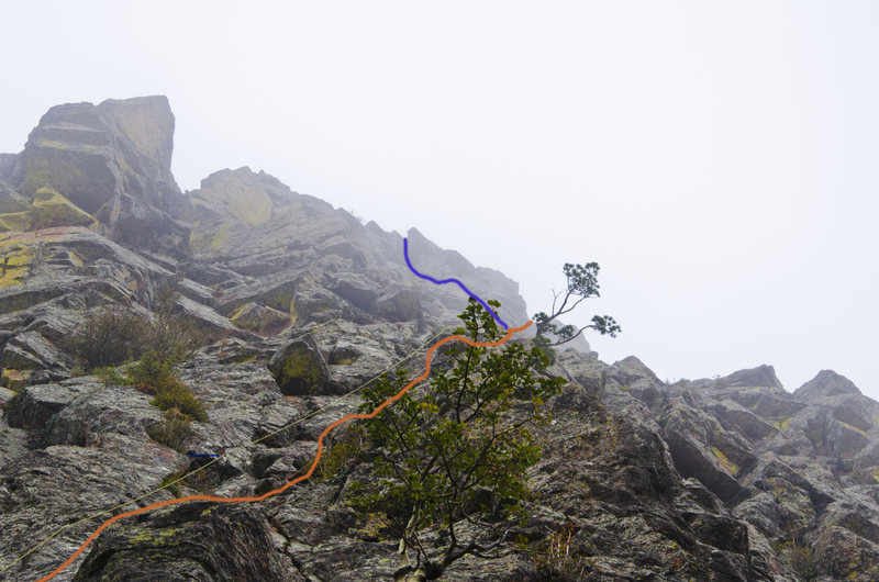 Rock Climbing Photo: Orange shows the finish I completed.  Blue looked ...