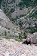 Rock Climbing Photo: Following P6 of Rewritten.  photo by Jason Partin