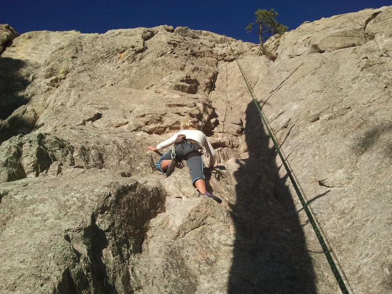 "Rock Climbing Photo: Kristina TR'ing ""Memorial Daze""."