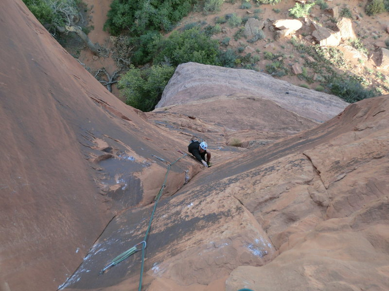 Mike Keegan following our version of the 1st pitch of Enigma Campground Route