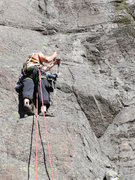 Rock Climbing Photo: Drilling the first bolt on the FA of Grandview