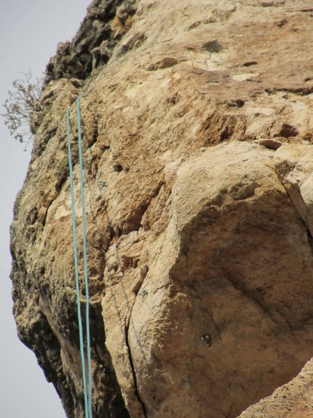 Crux of the climb is the bulge just above the overhang.