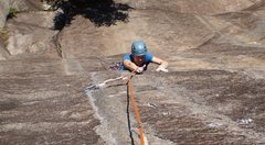 Rock Climbing Photo: Mary making the thin moves to pull over the P1 cru...
