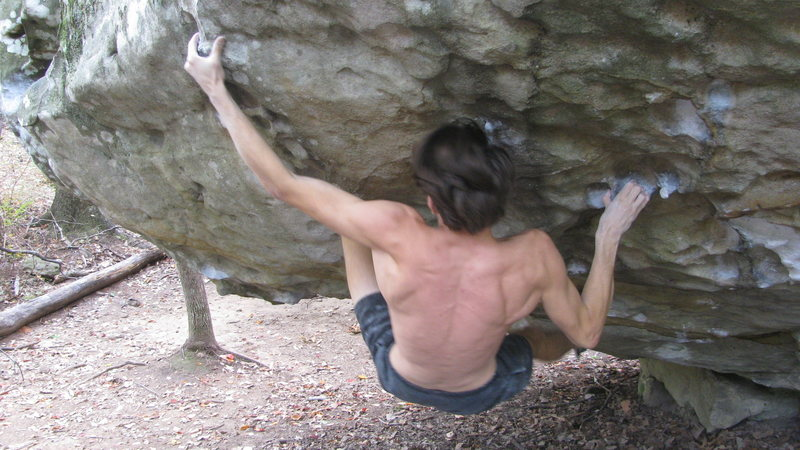 Rock Climbing Photo: Post crux lat explosion.
