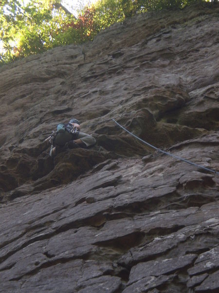 Mary froging through the crux on Pogue.