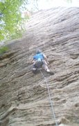 Rock Climbing Photo: Mary getting into the steep iron oxide rails that ...