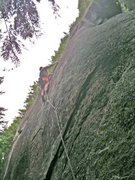 Rock Climbing Photo: Just finishing the crux section on 900 Oil-stricke...