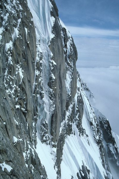 A remarkable view of the West Face Couloir while bailing down the West Face off the French Ridge.