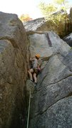 Rock Climbing Photo: Preparing to clip the pin before the first ledge o...