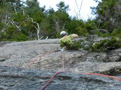 Rock Climbing Photo: Jim drilling the bolt