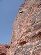 Rock Climbing Photo: Leading Electric Koolaid 5.9+, Red Rocks