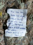 Rock Climbing Photo: This polite, well written note from ? Bolt Chopper...