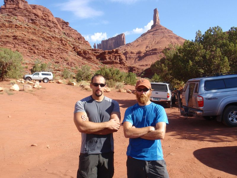 Jon Hydeman and myself at the trailhead to Castleton Tower in the Utah desert.